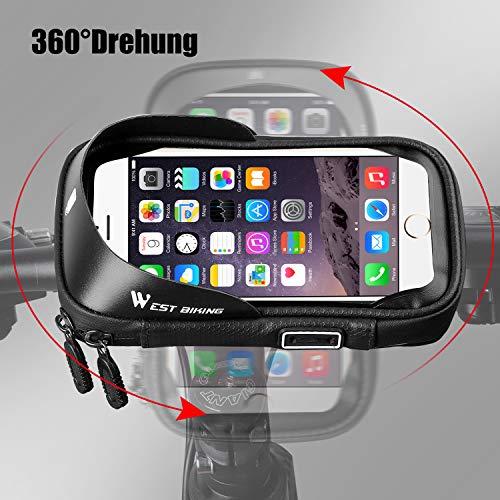 LuTuo Fahrrad Lenkertasche Wasserdicht, Handy Halterung Universal Motorrad Handyhalter für 3,5-6,0 Zoll Smartphone mit 360° Drehbar Fahrradtasche - 5