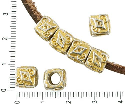 8pcs Antique Silver Tone Matte Gold Patina Wash Large Hole Cube European Pandora Style Rhombus Charms Beads Bohemian Metal Findings 8mm