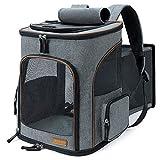 Lekesky Mochila expandible para perros y gatos para gatos y perros, mochila plegable para mascotas con correa de seguridad interior