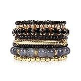 Multi Color Stretch Beaded Stackable Bracelets - Layering Bead Strand Statement Bangles (Original - Black, 7)