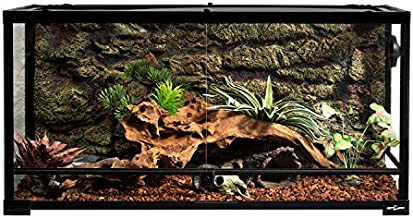 REPTI ZOO Reptile Glass Terrarium Tank Double Hinge Door with Screen Ventilation Large Reptile Terrarium 36