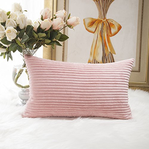 Home Brilliant Striped Corduroy Oblong Throw Pillowcase Cushion Cover for Lumbar, 12x20 inches, 30cm x 50cm, Baby Pink