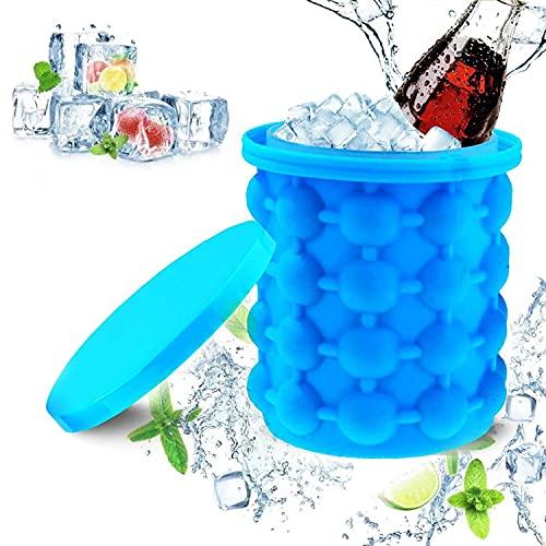 VOSSOT Cubitera de silicona, función 2 en 1, cubo de hielo con tapa, molde de silicona para whisky, cócteles y cualquier bebida BBQ, helado grande, recipiente para cubitos de hielo (azul)