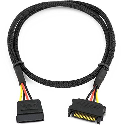"""CRJ SATA Power Extension Cable with High Density Black Sleeving 24"""""""