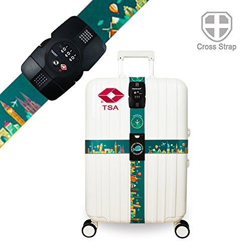 Luggage Straps TSA Approved Lock Long Cross Strap Adjustable Suitcase Belt with Travel Tags Accessories - Green