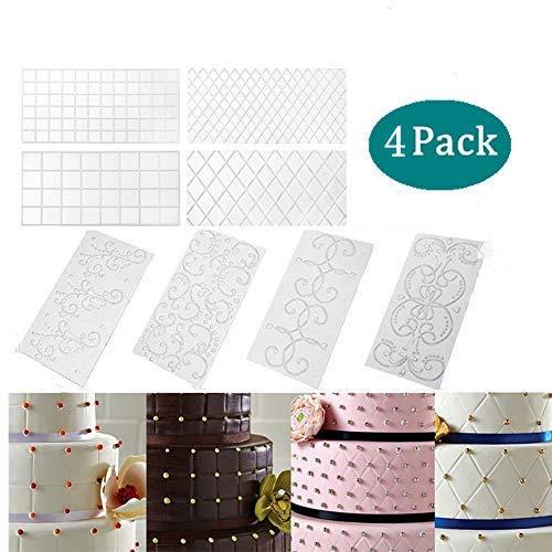 Prägematte Strukturmatte, Chantwon 4 Pack 3D Spitze Effekt Fondant Muster für Cupcake Hochzeitstorte Dekoration, Gitter Geprägte Spitze Präge Matte (2 Muster zufällig)