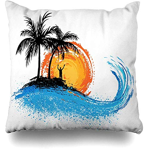 Asekngvo Throw Pillow Case Square Size 18'x18 Floral Verde Palmeras Océano Ola Puesta de Sol Playa Hawaii Naturaleza Naranja Abstracto Verano