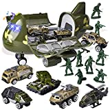 JOYIN 7PCS Military Friction Powered Transport Cargo Airplane Toy with Die-cast Military Cars Including 6 Diecast Military Vehicle Toys and Army Men Figures for Combat Toy Imaginative Play