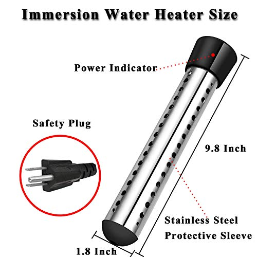 Immersion Water Heater, 1500W Bucket Heater with Stainless-Steel Guard, Smart Timing, Safe, Portable, Water Trough Heater for Hot Tub Inflatable Pool Bathtub, Heats 5 Gallons Water in Minutes (Black)
