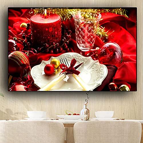 YYBFQZ Lienzo arte cartel de Navidad vela tenedor cuchillo lienzo pintura carteles e impresiones cocina pared arte comida imagen salón animales frameless decoración del hogar