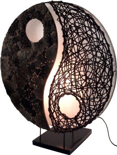 Guru-Shop Tafellamp/Tafellamp, Handgemaakt in Bali van Natuurlijk Materiaal, Lavasteen - Model Yin Yang Steen, Bamboe, 50x45x18 cm, Aziatische Tafellampen