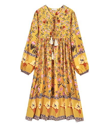 R.Vivimos Damen Beiläufig Bohemien Drucken Krawatte Langarm Strand Stil Lang Midi Kleid Berufung Kleid (2XL,Goldenrod)