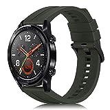 Fintie Correa Compatible con Huawei Watch GT 2 / Huawei Watch GT 46mm Sport/Classic/Active/Elite - Pulsera de Repuesto de Silicona Suave Banda Deportiva, Verde Oliva