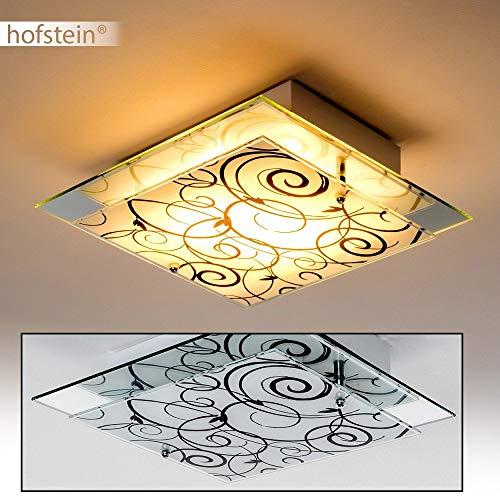 Vierkante plafondlamp bloemdecor, wit-mat/zwart, plafondlamp met glazen lampenkap, E27 stopcontact, max. 60 watt, voor woonkamer, slaapkamer, keuken, gang