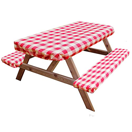 I-GIFT 8ft Reusable Elastic Picnic Table and Bench Covers 96'x28' Vinyl Fitted Waterproof Heavy Duty Tablecloth 3 PCS Outdoor Camping Patio Park Red