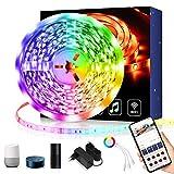 Maxsure Ruban à LED WiFi 5M, Bande LED Etanche 5050 RGB, Controlé par Smartphone, Compatible avec Alexa, Google Home, Echo. Synchroniser avec Musique, Luminosité/Vitesse Réglables