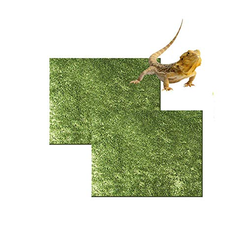 Hamiledyi Reptile Carpet,Artificial Grass Turf Mat Warm and Thick Bedding Reptile Climbing Carpet Terrarium Substrate Liner for Bearded Dragon Gecko Chamelon Lizards Spiders Frogs(19.69'x11.81')