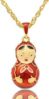 MYD Jewelry Enamel Russian Matryoshka Doll Easter Egg Pendant Necklace