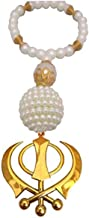 Galaxy Karmaa Golden Color Khanda for Car with White Pearls