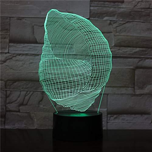 LIkaxyd Luz Llevada 3D Noche Forma De Concha Óptica Lámpara De Mesa Luz Iluminación 7 Colores Abs Base & Cargador Usb [Clase De Eficiencia Energética A]