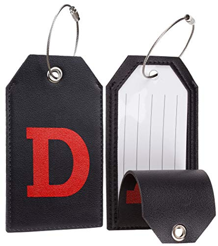 Casmonal Initial Leather Luggage Tag Travel Bag Tag Fully Bendable 2 PCS set (D)