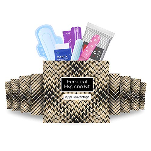 Menstrual Kit All-in-One 10 Pack   Convenience on The Go   Period Kit Pack for Travelling, Tweens & Teenagers or just When You're Out   Individually Wrapped Feminine Hygiene Product (Light Leather)