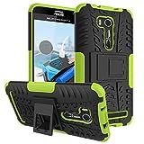 PAIPAIGUAN ASUS Zenfone Go ZB551KL(5.5 Zoll) hülle(Silikon Series) TPU + PC 2-in-1-Double-Layer-idealer Schutz,Stoßfest Handyhülle Drop Resistance Handys Schutz Hülle mit Ständer für-Grün