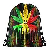 Yuanmeiju Leaf Rasta Colors Dripping Paint Printing Shoulder Bolsa con cordón Backpack String Bags School Rucksack Gym Sport Bag Lightweight