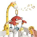tumama Baby Musical Cuna Cuna Jirafa Control remoto móvil con espejo Animales blandos Juguetes colgantes Luces Canción de cuna Proyector giratorio Dormir