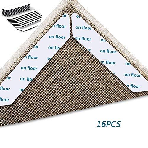 UNOIF Teppichgreifer Für Hartholzböden, Verbesserte, Nicht Kräuselnde, Waschbare, Erneuerbare Teppichgreifer Aufkleber Für Teppiche, Ideale, rutschfeste Teppichunterlage, Doppelseitig,16PCS