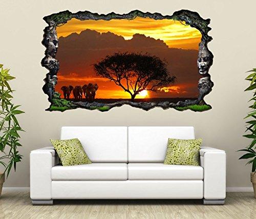 3D Wandtattoo Afrika Savanne Elefanten Safari Baum selbstklebend Wandbild Tattoo Wohnzimmer Wand Aufkleber 11L1930, Wandbild Größe F:ca. 97cmx57cm