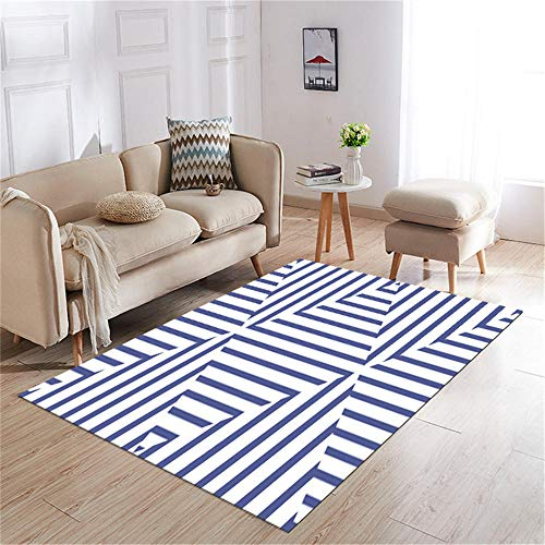 Kunsen Alfombra Dormitorio Antideslizante Alfombra Alfombra Moderna decoración de la Sala de Estar Azul Blanco no se desvanece Suave Cuadros Salon Modernos Grandes 140X200CM 4ft 7.1' X6ft 6.7'