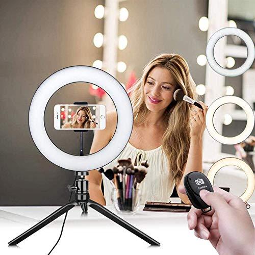 Autotemporizador luz de llenado Soporte de teléfono móvil LED Anillo forma Self, USB carga LED anillo luz lámpara Selfie cámara teléfono estudio trípode soporte video regulable (negro)