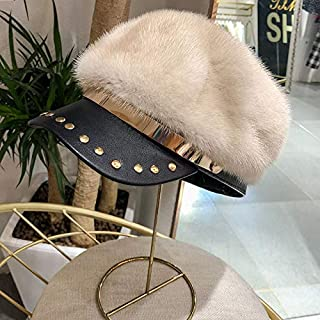 Ladies Winter New Whole Suede Mink Fur Duck Fur Hat Rivet Leather Hat Soft Hat Gray