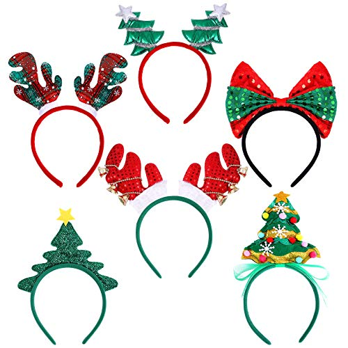 Ruisita 6 Pack Assorted Christmas Headbands Xmas Party Costume Headbands Christmas Hair Hoop for Christmas Party Accessoriess