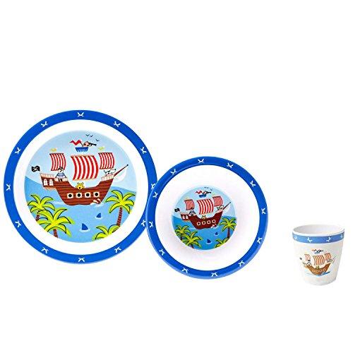 Gimex Kindergeschirrset für Jungs Piraten, Piratenabenteuer 3-teilig, Spülmaschinenfest Kinderteller, Kinderschüssel & Kinderbecher | Kindergeschirr Set für Jungen