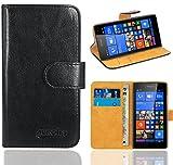 Microsoft Lumia 535 Handy Tasche, FoneExpert® Wallet Hülle Flip Cover Hüllen Etui Ledertasche Lederhülle Premium Schutzhülle für Microsoft Lumia 535 (Wallet Schwarz)