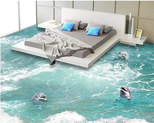 ShAH Custom 3D Stock Wallpaper Bad Küche Etage Tapete Selbstklebende Tapete Wasserdicht Dolphin In Den Wellen 3D Tapete Hintergrundbild Wallpaper Wandmalerei Fresko Mural 350cmX250cm