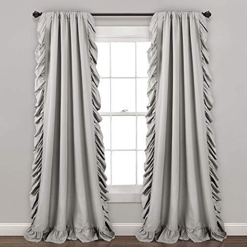 "Lush Decor Light Gray Reyna Window Panel Curtain Set for Living, Dining Room, Bedroom (Pair), 95"" x 54"", 95"" x 54"""