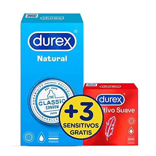 Durex Preservativos Natural - 12 condones + 3 Sensitivo Suave Gratis, 15 condones