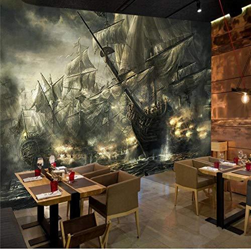 Zbzmm vlies fotobehang Fresko nostalgie piratenschip bar KTV thema heftruck achtergrond muur 300 cm (b) x 200 cm (h).