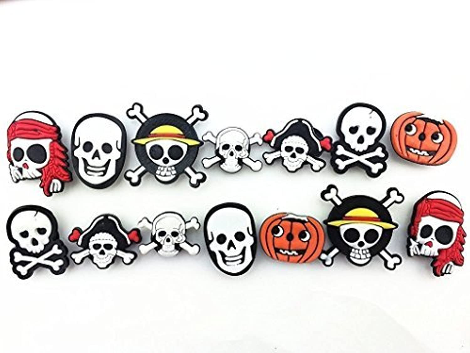 14pc Halloween Pirates Skull Shoe Charms for Croc Shoes Kids Toy & Bracelet Wristband [並行輸入品]