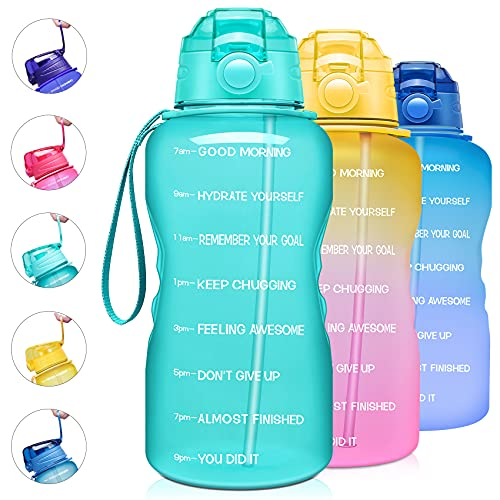 Giotto Large 1 Gallon/128oz Motivational Water Bottle with Time Marker & Straw,Leakproof Tritan BPA Free Water Jug,Ensure You Drink Enough Water Daily for Fitness,Gym and Outdoor Activity-Mint Green
