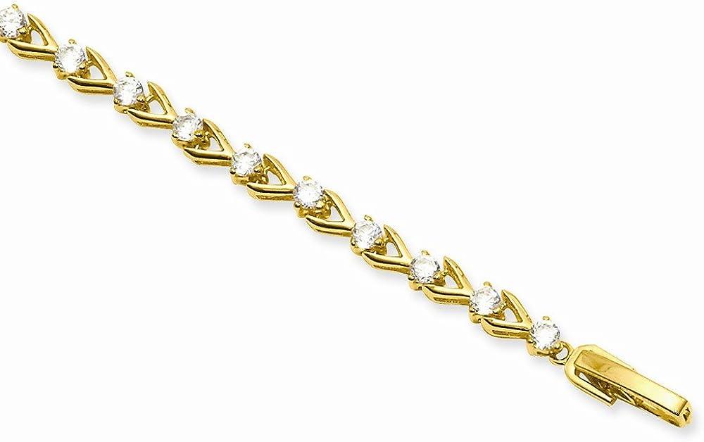 7.25in Gold-Plated Teardrop CZ Bracelet 7.25