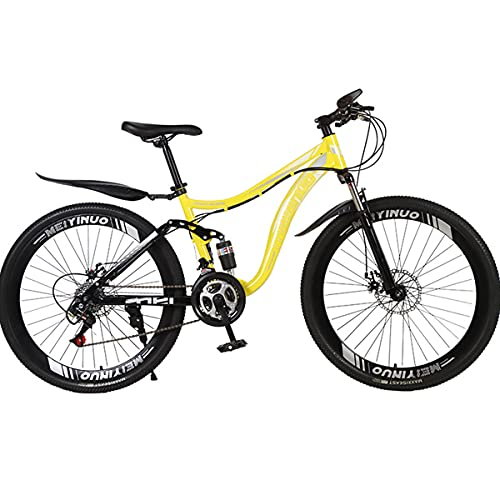 PBTRM Bicicleta MTB 26 Pulgadas 27 Velocidades, Bicicletas Montaña MTB para Hombres Y Mujeres, Marco Doble Amortiguador, Disco Freno,Amarillo