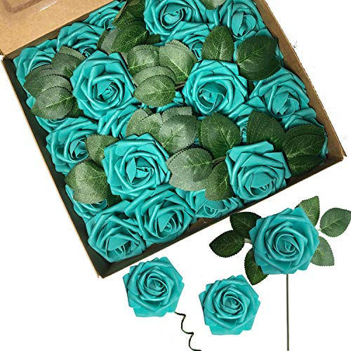 ACDE Fiori Artificiali, Rosa Artificiali 25 Pezzi Rose Finte Schiuma Aspetto Reale con Foglia e Gambo Regolabile per DIY Matrimoni Mazzi Nuziale Festa Casa Stanza Decorazioni (Blu)