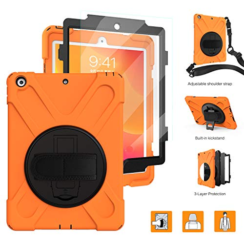 iPad 2019 Case,BRAECNstock New iPad 7th Generation Case[Built-in Screen Protector] Heavy Duty Shockproof with Kickstand/Hand Strap Rugged Case for iPad 10.2 Inch 2019-Orange