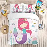 HUA JIE Juegos De Fundas para Edredón Kawaii M-Er-Ma-ID Princess Duvet Cover Sets For Girls 3 Pcs Cute Cartoon Bedding Set King Size
