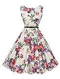 Robe Rétro Blanche Col Rond Sans Manche Vintage à Fleurs  YF6086-21 - Floral-21 -Medium