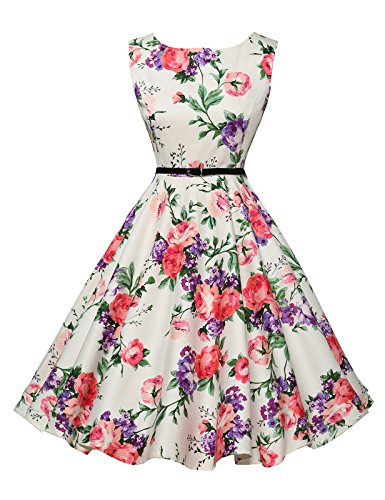 Karin® Yafex Damen 50s Vintage Hepburn Swing Kleider,Clolor 21,M